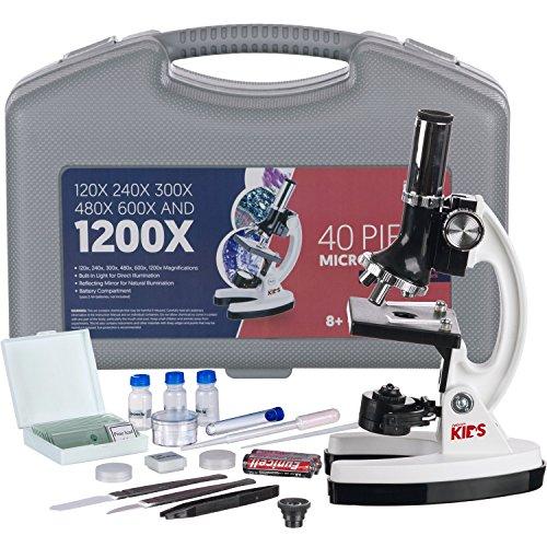 AmScope FBA_M30-ABS-KT1-W Biologisches Mikroskop-Set für Kinder mit 48-Teiliges Metallarm, 120X-240X-300X-480X-600X-1200X, Weiß, 33cm x 15.2cm x 22.9cm