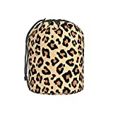 KILOWR Leopard Print Makeup Bag for Women Girls Drawstring Barrel Cosmetic Bags Portable Travel Bucket Toiletry Bag Lightweight Round Organizer Storage Cases