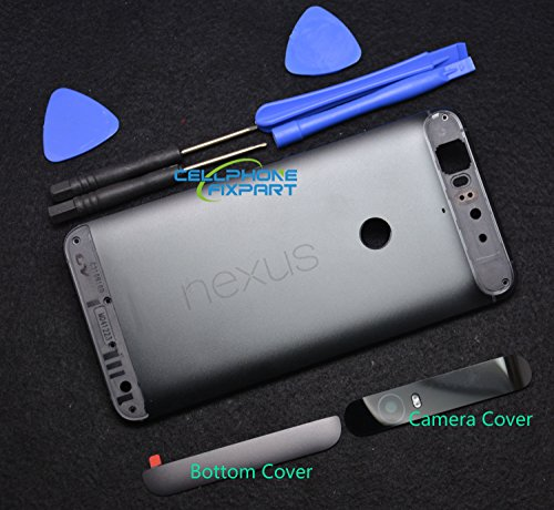 Genuine Metal Battery Cover,Rear Panel Replacement with Camera Cover+Bottom Cover Compatible with Huawei Google Nexus 6P -Black