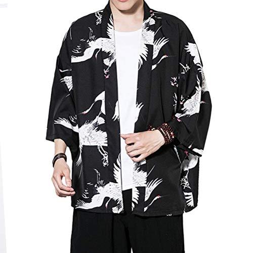 Moda para Hombre Chaqueta De Kimono De Verano Impresión De Modernas Manga Casual 3/4 Suelta Chaqueta Haori Ocasional Outwear Cardigan Capa Delantera Abierta Juventud