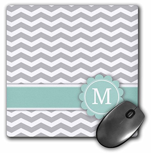 3dRose LLC 8 x 8 x 0.25 Inches Mouse Pad, Letter M Monogrammed on Grey and White Chevron with Mint Gray Zigzags Personal Initial Zig Zags (mp_154232_1)
