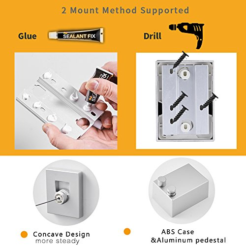 BESy Retractable Clothes Dryer Spreader ABS case+Aluminum Dryer with Adjustable Braided Cord Hotel Style, Self Adhesive & Wall Mounted Method, 13.8 Feets,Silver