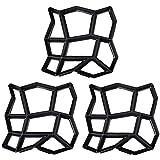 pqzatx - set di 3 stampi per pavimentazione fai da te irregolari, per realizzare percorsi e mattoni, per cemento, per pietra, per giardino, cortile, patio e passeggiate, 13,8 x 13,8 cm