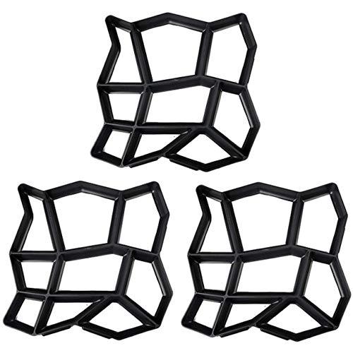 GEEKEN Paquete de 3 Moldes Irregulares para Pavimento de Bricolaje Fabricante de Paseo Creador de Caminos Molde de Ladrillo Forma Concreta Pathmate Moldeos 13.8 X 13.8 Pulgadas
