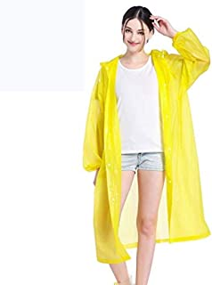 KTYXDE Raincoat Poncho Eva Material Transparent Reusable Portable Rainproof Outdoor Hiking Raincoat (Color : Yellow)