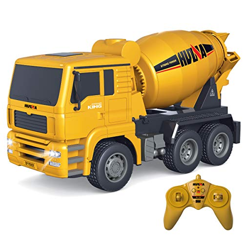 Fistone RC Cement Mixer Truck 6 Channel 1/18 Scale Auto Dumping Construction Vehicle Toy for Kids Boys Age 8 10 12 Years Old