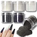 Allstarry 6 Colors Nail Glitter Powder Holographic White Black Nail Shining Sugar Effect Glitter Colorful Cosmetic Festival Powder DIY Nail Art Decoration for Manicure, DIY Crafts