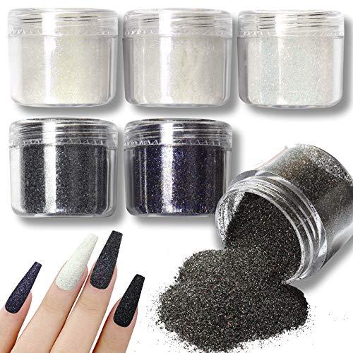 Allstarry 6 couleurs de poudre de paillettes holographique pour ongles - Blanc et noir - Effet sucre brillant - Poudre cosmétique colorée pour festival, décoration d'ongles pour manucure