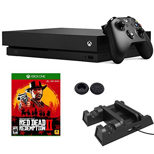 Microsoft Xbox One X 1 TB (CYV-00001) with Red Dead Redemption 2 + Dual Charging/3-in-1 Cooling Fan Station Bundle