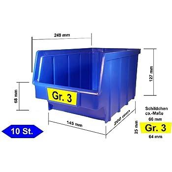 25 St/ück Stapelboxen Gr/ö/ße 3 - stapelbar//Regalbox//Sichtbox//Lagerbox blau 145 x 248 x 127 mm