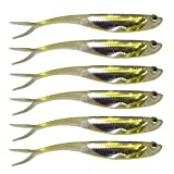 QualyQualy Soft Swimbait Fishing Lures Jerk Shad Minnow Drop Shot Lure Bass Bait Shad Bait Shad Lure Soft Jerkbait for Bass Trout Pike Walleye Crappie 2.95in 6Pcs Color 2