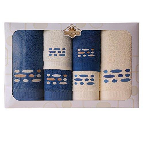 Westward Ho!. Pebbles diseño Juego de Toallas, Crema/Oscuro Azul, Juego de 6