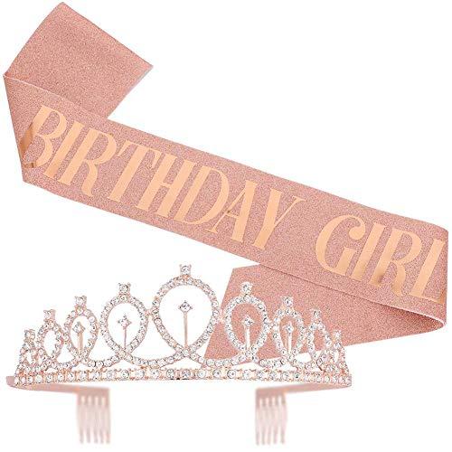 JPYZ Compleanno Crown, Compleanno Ragazza Tiara Corona,Cintura e Copricapo per Ragazza di Compleanno, Usati per Regali di Compleanno, Feste di Compleanno, Accessori e Decorazioni