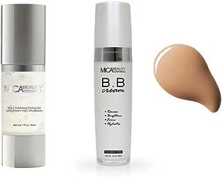 Mica Beauty Skin Care Duo: Vita-C Exfoliating Peeling Gel Mask for Skin Renewal + 5-in-1 Skin Perfecting Flawless BB Cream - Light