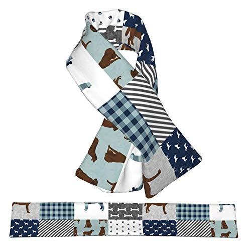 Pañuelo de franela cruzada, diseño de Labrador Retriever Chocolate Lab Pet Quilt B Cheater Quilt Cuello de perro Bufandas de felpa de doble cara, suave y liviana para mujeres, hombres y adolescentes