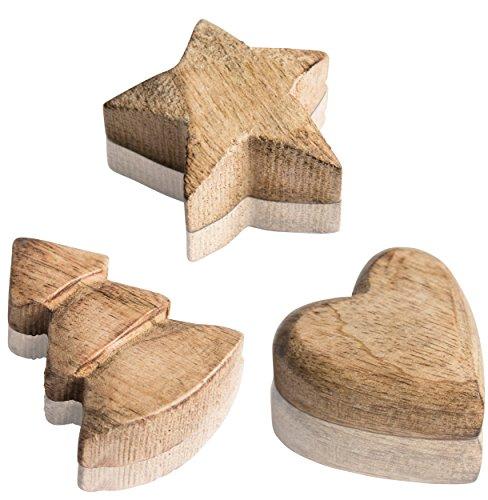 CHICCIE Lot de 3 Figurines de manguier en Bois de Sapin de Noël en Forme d'étoile