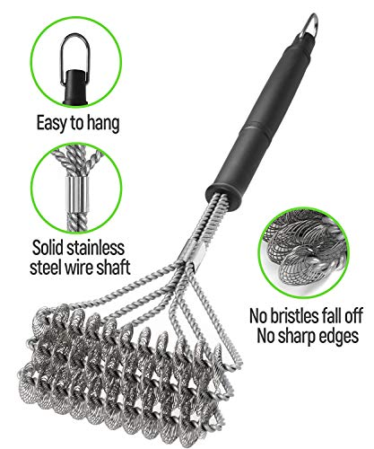 """SHINESTAR BBQ Cleaning Brush Set of 2, 18"""" Stainless Steel Barbecue Brush, Brizzler Grill Brush with 304 Scraper for cast iron, charcoal, electric gas grill"""