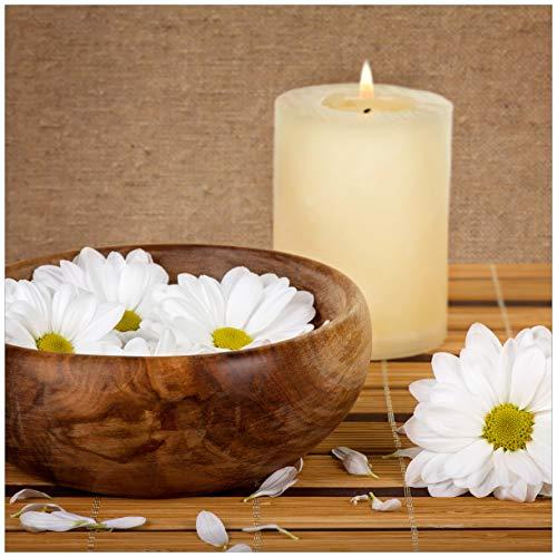Wallario Möbeldesign/Aufkleber, geeignet für IKEA Lack Tisch - Stillleben - Kerzen und Blumenblüten in Holzschale in 55 x 55 cm