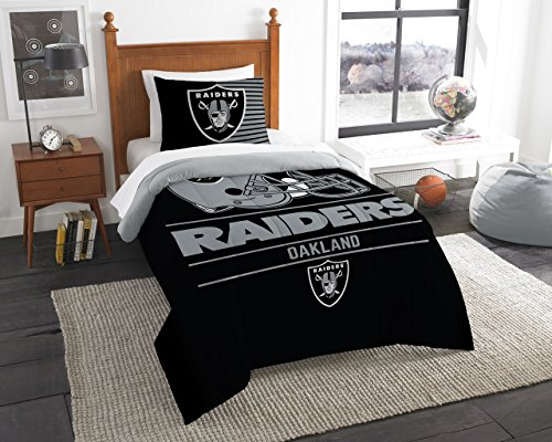 The Northwest Company NFL Las Vegas Raiders Unisex Draft Twin Comforter and Sham Set, Black, Twin