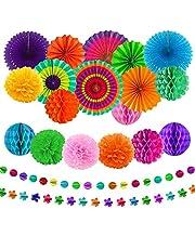 aovowog 21 Pack Decoración Fiesta Abanicos de Papel Flores Pompom Bolas de Nido de Abeja Guirnaldas para Celebración Fiesta de Cumpleaños Bodas Carnaval Mexicano