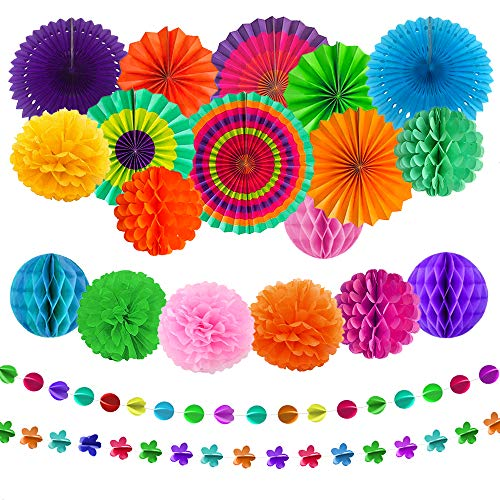 aovowog 21Pcs Party Decorations Set Hanging Paper Fans Pom Poms Flowers Honeycomb Balls Garlands Mexican Party Decorations String for Birthday Party Wedding Party Baby Shower