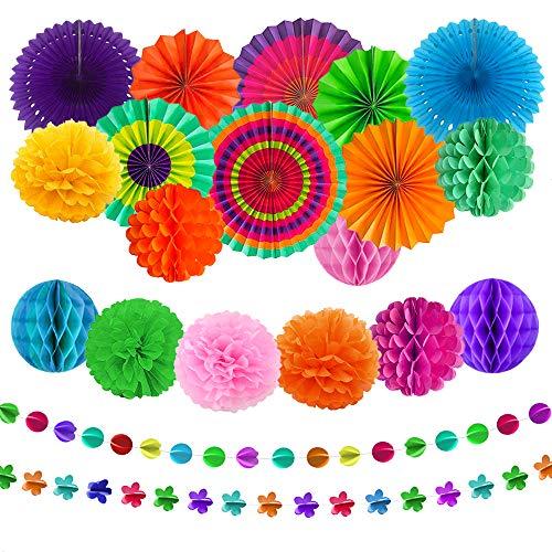 aovowog 21 Pack Decoración Fiesta Abanicos de Papel Flores Pompom Bolas de...