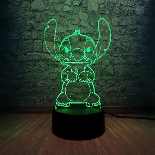 Piccola/piccola luce notturna, lampada 3D Cartoon Kawaii Lampada 3D Illuminazione RGB 7 Cambia colore Camera da letto Lampada da notte Lampada da notte Decorazioni natalizie Regalo per