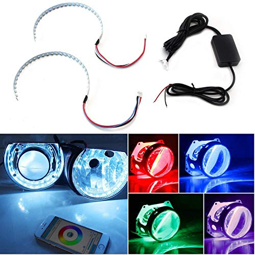 iJDMTOY Bluetooth Wireless Remote Control 15-SMD RGB LED Demon Eye Halo Ring Kit Compatible With Headlight Projectors or 2.5 2.8 3.0 Inch Retrofit Projector Lens
