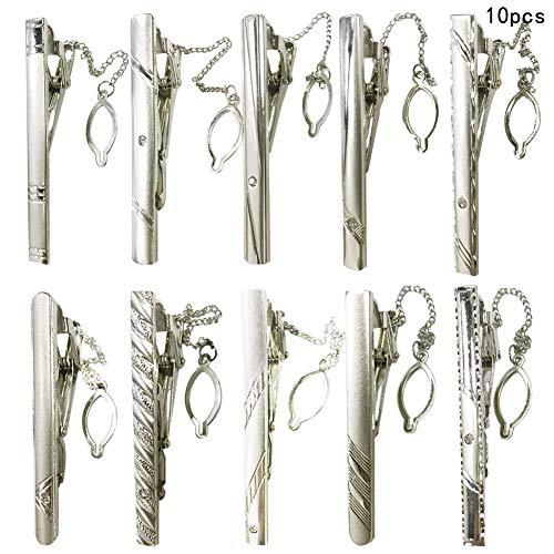 Pasador de Corbata-WENTS Clips de Corbata Clásicos 10 Piezas Clip de Corbata para Hombres Metal de Hierro Clásico Corbata Tie Bar Clip Boda Negocio Accesorios