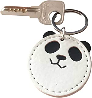 Keyring,Handmade Leather Panda Keychain Pendant Bag Charm Car Cell Phone Decor Ornament, Gifts for He(r)