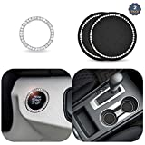 EcoNour Car Decor Crystal Rhinestone - 2.75 Inch (2 Pack)   Car Bling Ring Emblem Sticker (1 Pack)   Vehicle Bling Cup Holder Insert Coaster   Car Interior Decoration   Bling Car Accessories for Women