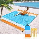 Okuya tragbare Outdoor-Übergröße, leichte Stranddecke, 208,3 x 200,7 cm, wasserdicht, Taschen-Picknickdecke, kompakte Decke, leichte Camping-Plane Orange+Blau+Weiß