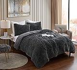 Plush Shaggy Comforter Set Ultra Soft Luxurious Faux Fur Decorative Fluffy Crystal Velvet Bedding with 2 Shams, King, Dark Gray
