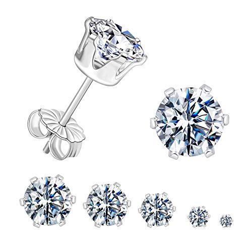 GEMSME 925 Sterling Sliver Stud Earrings Round Cubic Zirconia Stud Women Men Sparkly Jewelry Pack of 5