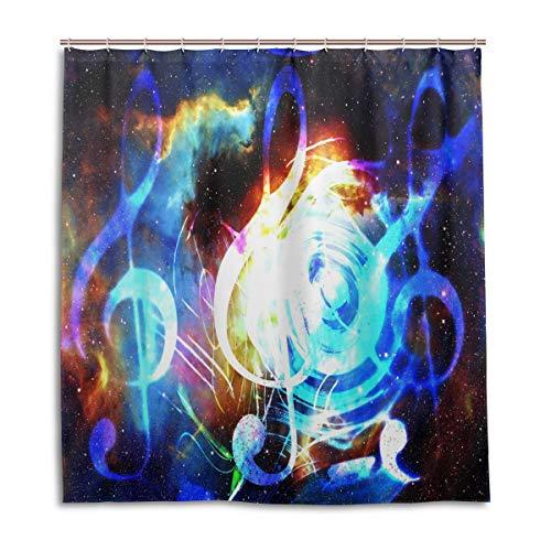CPYang Duschvorhang Galaxy Space Musik Note Wasserdicht Schimmelresistent Bad Vorhang Badezimmer Home Decor 168 x 182 cm mit 12 Haken