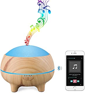 DBGS 300Ml Aromatic Oil Diffuser Bluetooth Music Speaker Ultrasonic Air Humidifier 15 Color Change Led Lights