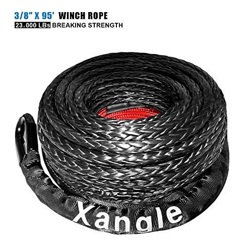 """Xangle Synthetic Winch Rope, 3/8"""" x 85' - 25000 Ibs Durable Winch Line Cable Rope, 85FT Length with Protective Sleeve for 4WD Off-Road Vehicle Jeep ATV UTV SUV Truck Motorcycle"""