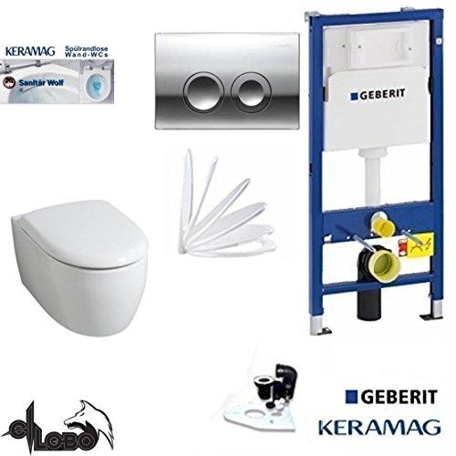 Geberit Duofix Vorwandelement, KERAMAG ICON XS WC Spülrandlos Komplettset + Deckel Absenkautomatik, Keratect Beschichtung, Schallschutz, Drückerplatte chrom