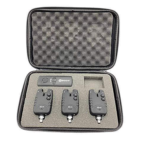 CarpOn® Tackle Wireless Karpfen Angeln Funk Bissanzeiger Angeln Set mit LED Leuchtzeiger ideal für Karpfenangeln (3 Angeln Bissalarm+1 Empfänger)