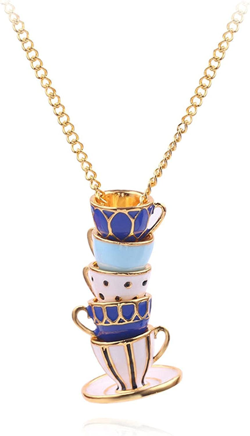 Naswi Tea Cups Stack Pendant Necklace Hand Made Sweater Chain Creative Stereoscopic Enamel Jewelry Long Necklace for Women Collar