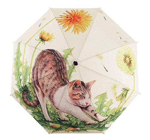BXT - Ombrello da donna, design a fantasia, modello da passeggio e da viaggio, resistente, antivento, anti-UV, SPF 40+, Big Lazy Cat (Multicolore) - BXT-UMBREL-096
