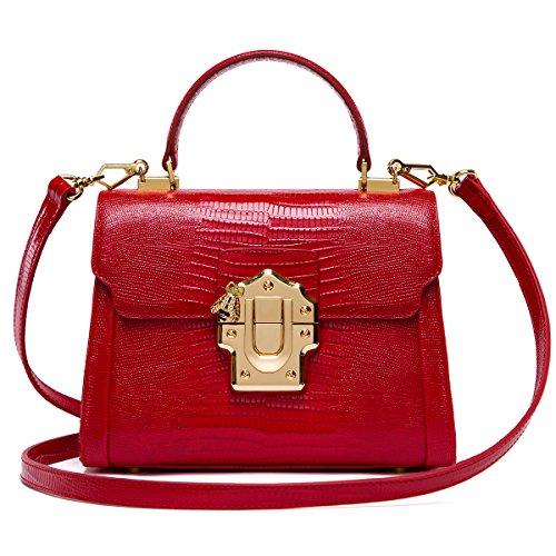 LA'FESTIN Crossbody Leather Tote Bags for Women Designer Red Purses