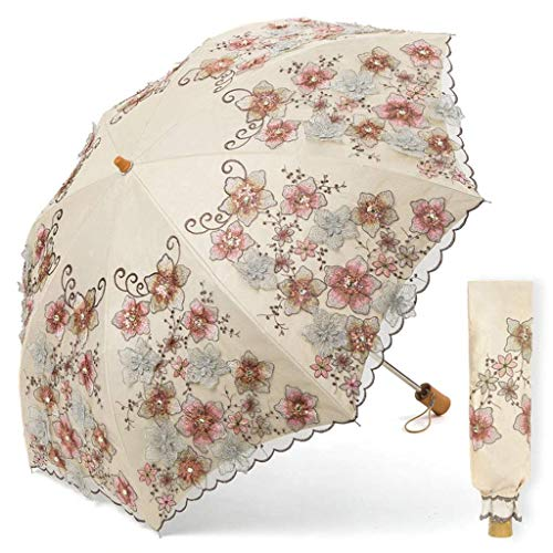 Gymqian Paraguas Sol Sol Protección Uv Mujer Paraguas Paraguas Bordado Negro Plástico Plegable Paraguas Fácil de cargar