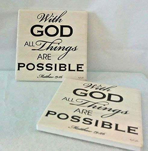 Thirstystone Dolomite With God All Things are Possible Coasters- Set of 2