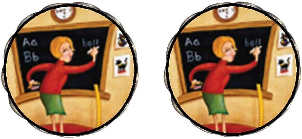 GiftJewelryShop Bronze Retro Style Teacher Using Blackboard Photo Clip On Earrings Flower Earrings #12