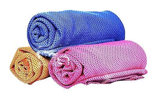 Verfrissende handdoek - koeler - microfiber - sneldrogend - koeling - sport - koud effect - sportschool - sport - gymnastiek - yoga - 3 eenheden - willekeurige kleuren - cadeau-idee