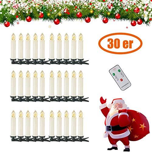 30 er LED Weihnachtskerzen Kerzen Weihnachtsbaum Lichterkette mit Fernbedienung Kabellos LED Wasserdichte Baumkerzen (30X)