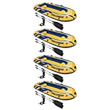 Intex Challenger 3 Inflatable Raft Boat Set with Pump and Oars 68370EP (4 Pack)