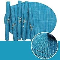XiZiMi 家庭、レストラン、ホテルなど 2個45 * 32.5 cm(青) 純粋な色の竹のパターンPVCプレースマット 滑り止め滑り止めプレースマット 断熱プレースマット 楕円形のプレースマット Blue