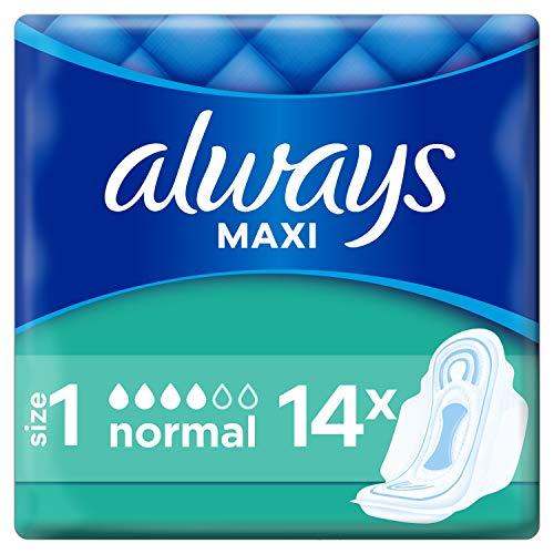 Always Maxi Normal Damenbinden mit Flügeln Gr.1 (14 Stück) super saugfähriger Kern & verbesserter Auslaufschutz für sicheren Komfort